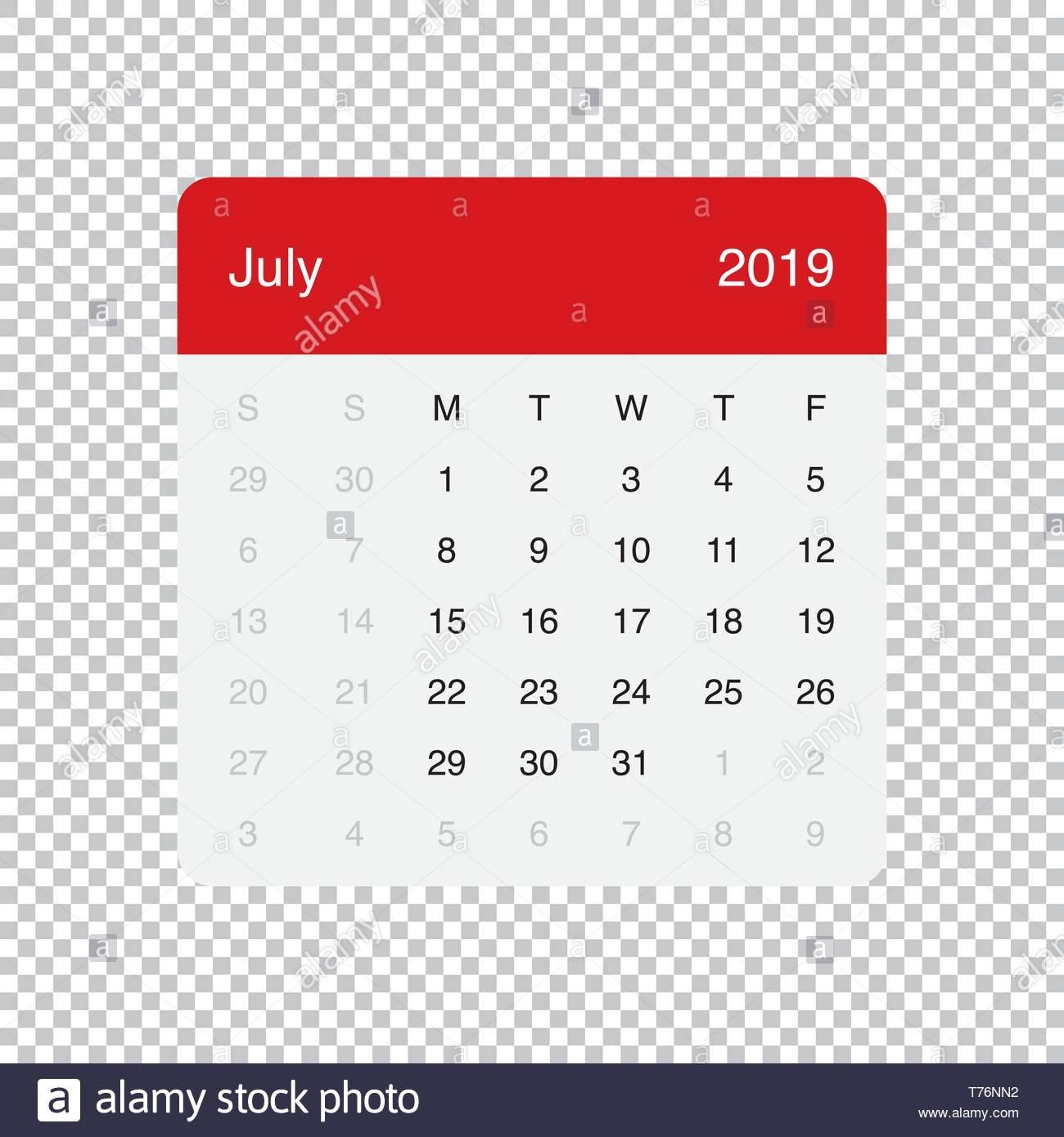 July 2019 Calendar Stock Photos & July 2019 Calendar Stock Images Calendar July 4 2019