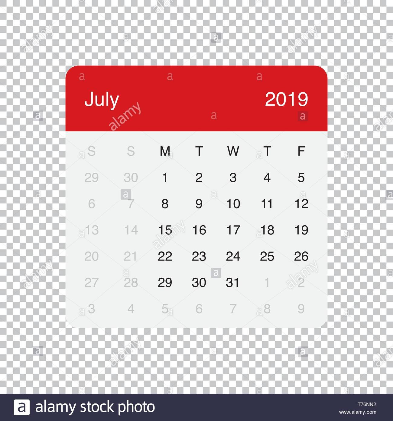 July 2019 Calendar Stock Photos & July 2019 Calendar Stock Images July 8 2019 Calendar
