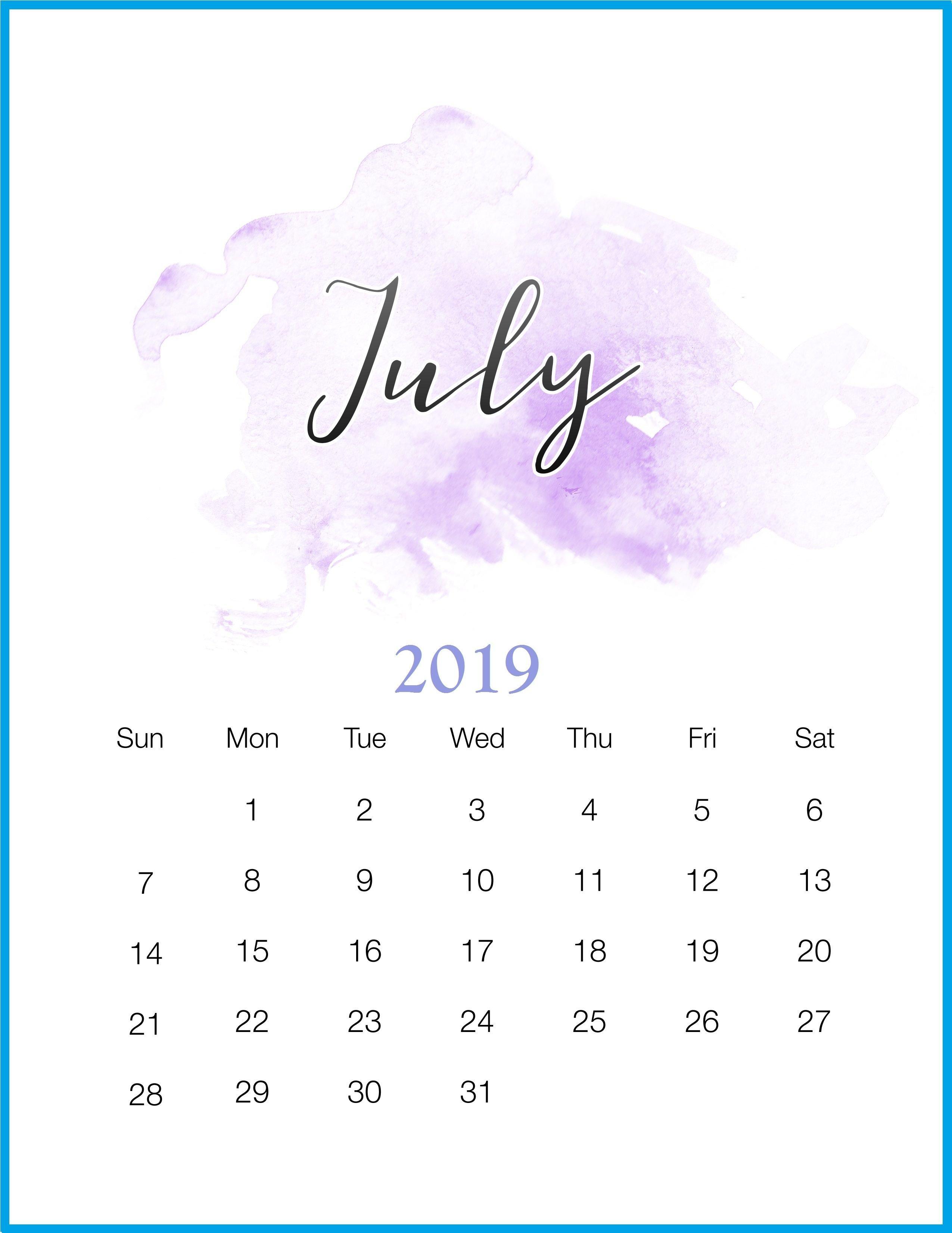 July 2019 Calendar Wallpapers - Wallpaper Cave July 1 2019 Calendar