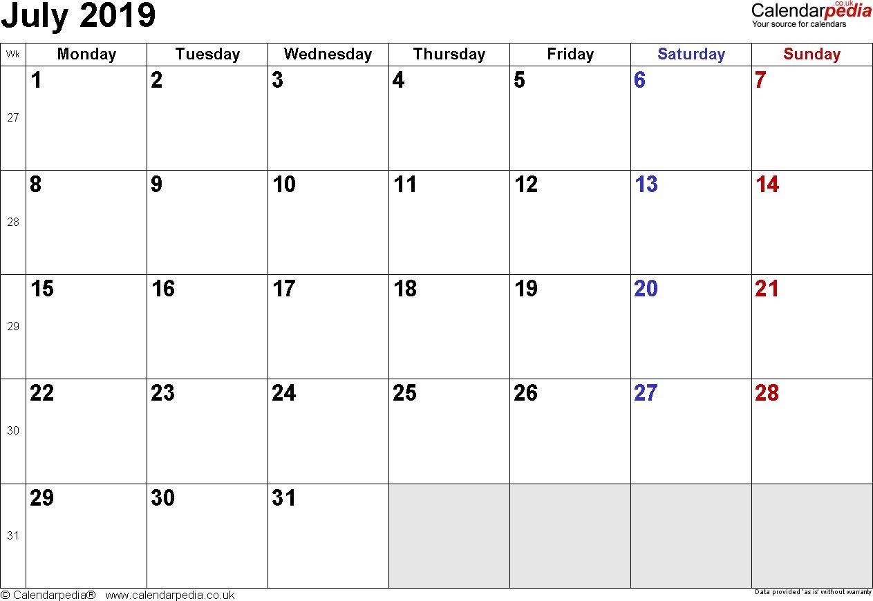 July 2019 Calendar With Holidays – Printable Year Calendar Calendar 2019 Zu