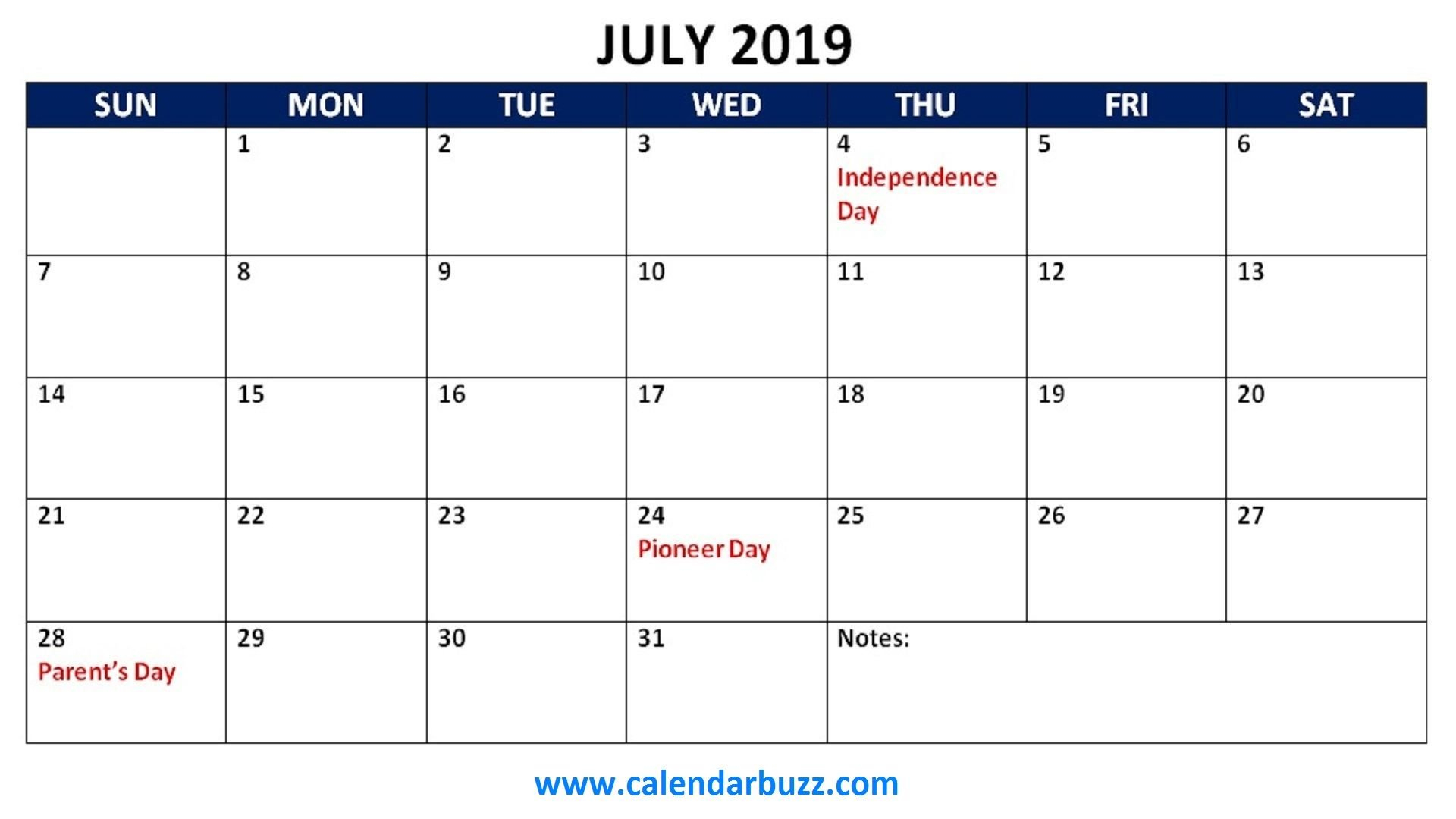 July 2019 Holidays Calendar #july #julycalendar #july2019 | July Calendar Q1 2019
