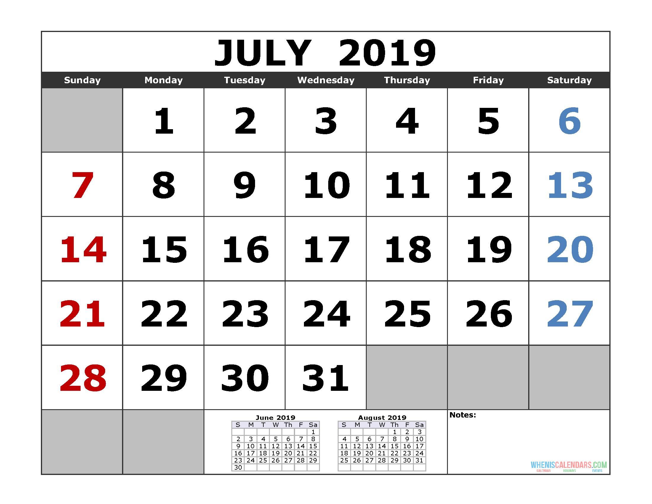 July 2019 Printable Calendar Template (3 Month Calendar) | Free July 3 2019 Calendar