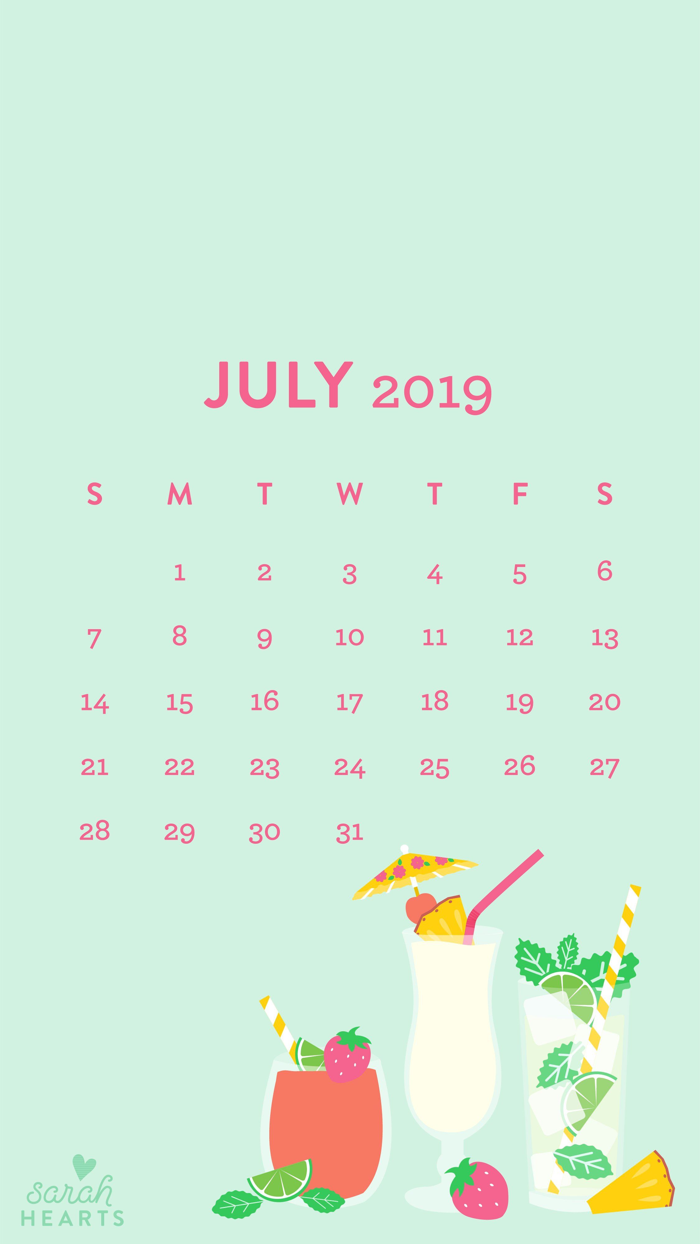 July 2019 Summer Drinks Calendar Wallpaper – Sarah Hearts July 8 2019 Calendar