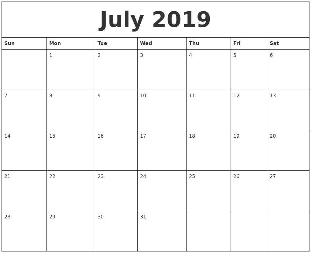 July 2019 Word Calendar Calendar 2019 In Word