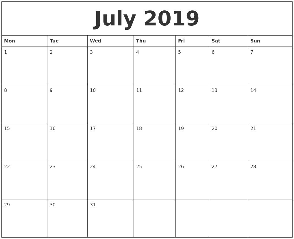 July 2019 Word Calendar Calendar 2019 Word