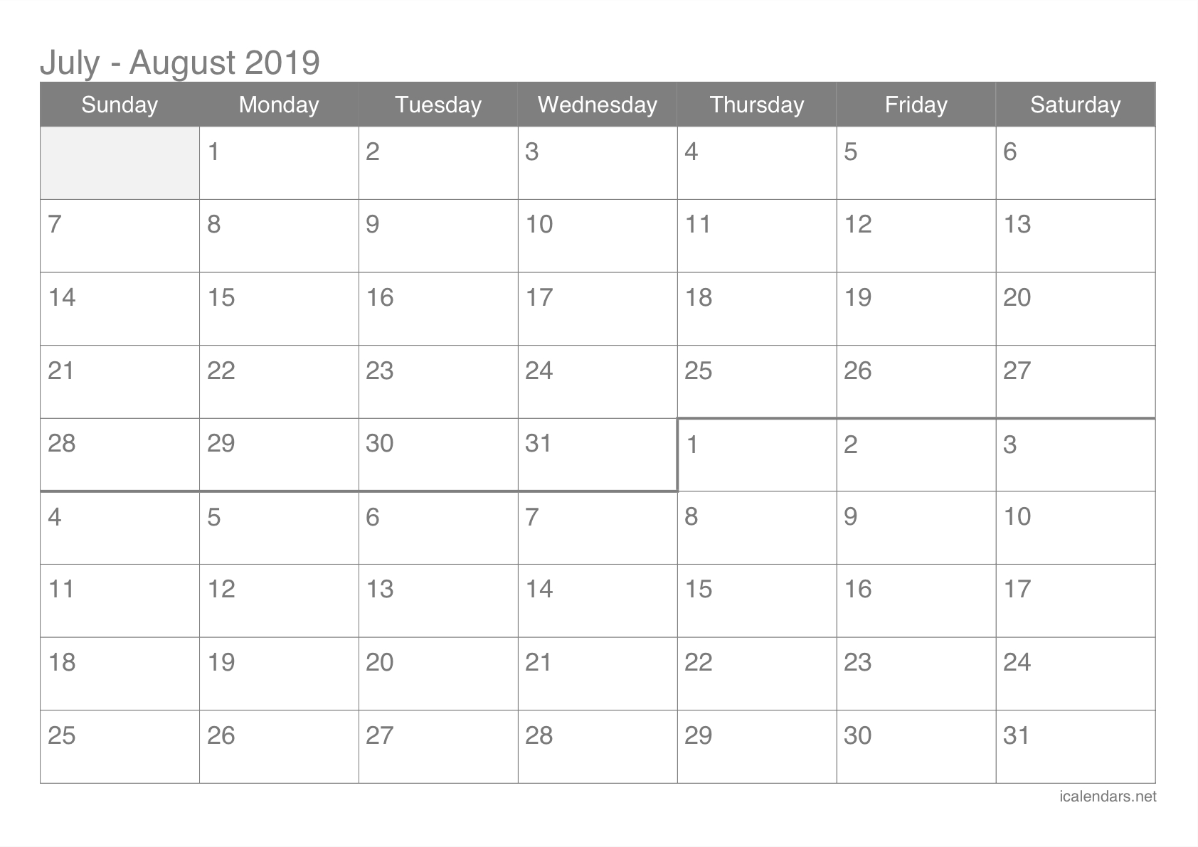 July And August 2019 Printable Calendar - Icalendars Calendar 0F 2019