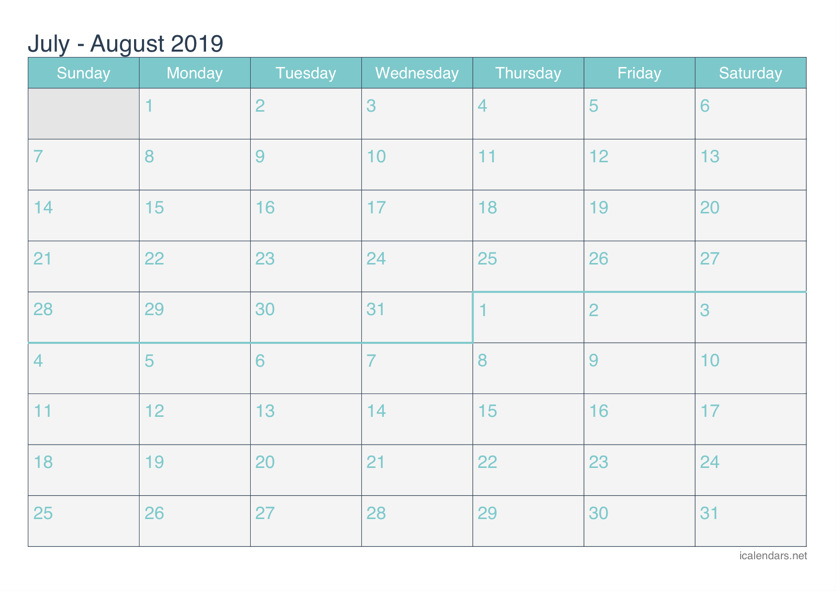 July And August 2019 Printable Calendar - Icalendars Calendar 2019 July
