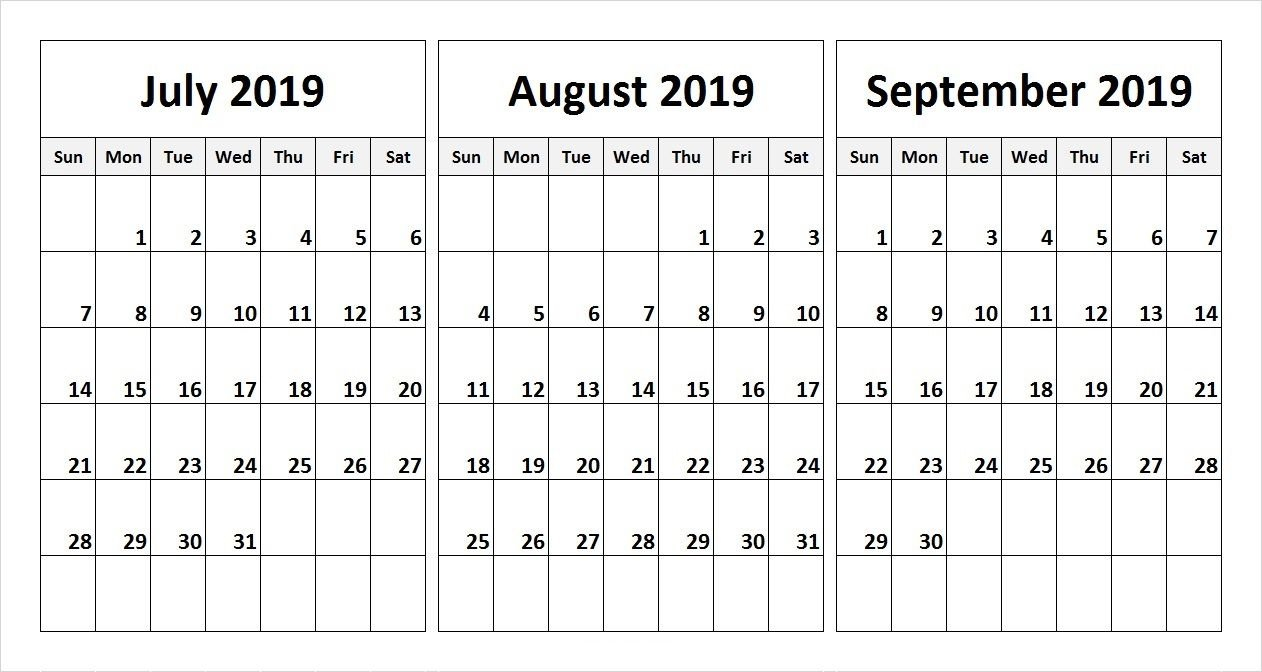 July August September 2019 Calendar | July Month Calendar 2019 Printable Calendar 2019 July August