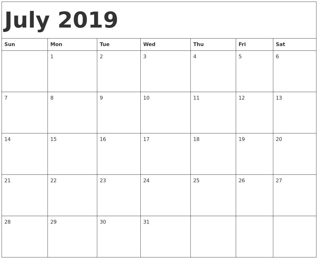 July Calendar 2019 Printable Template - Pdf, Word, Excel Calendar 2019 Template Pdf