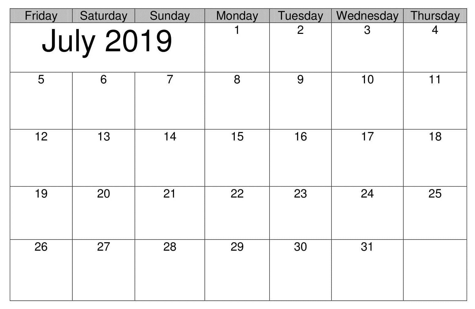 July Printable Table 2019 Calendar | Calendar July 2019 | July Calendar 2019 Table