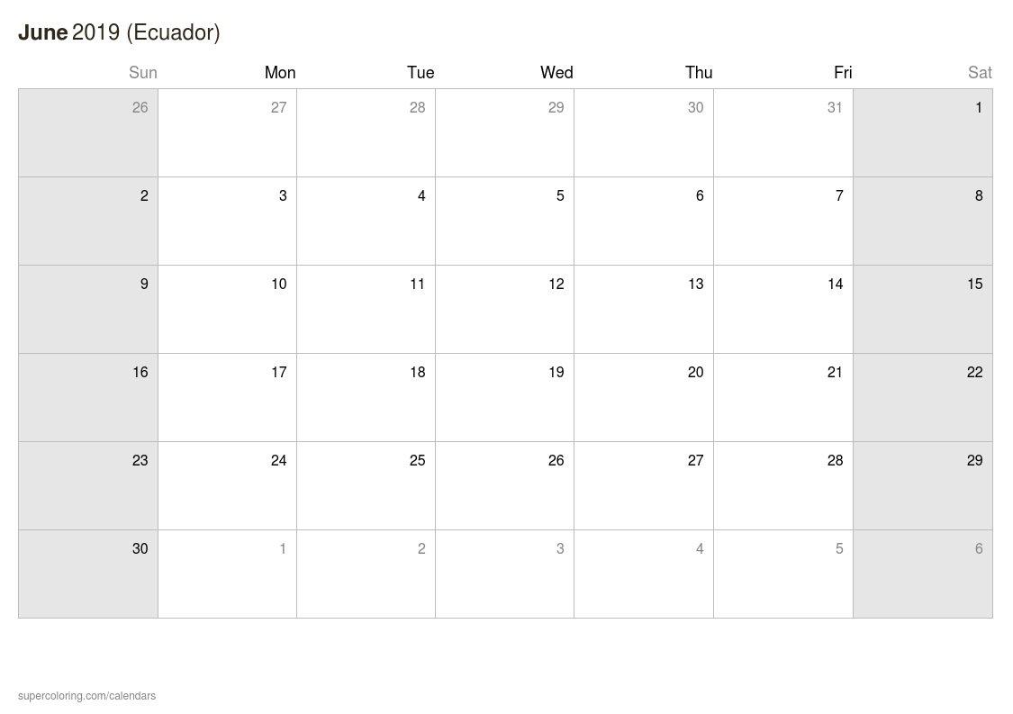 June 2019 Calendar - Ecuador Calendar 2019 Ecuador