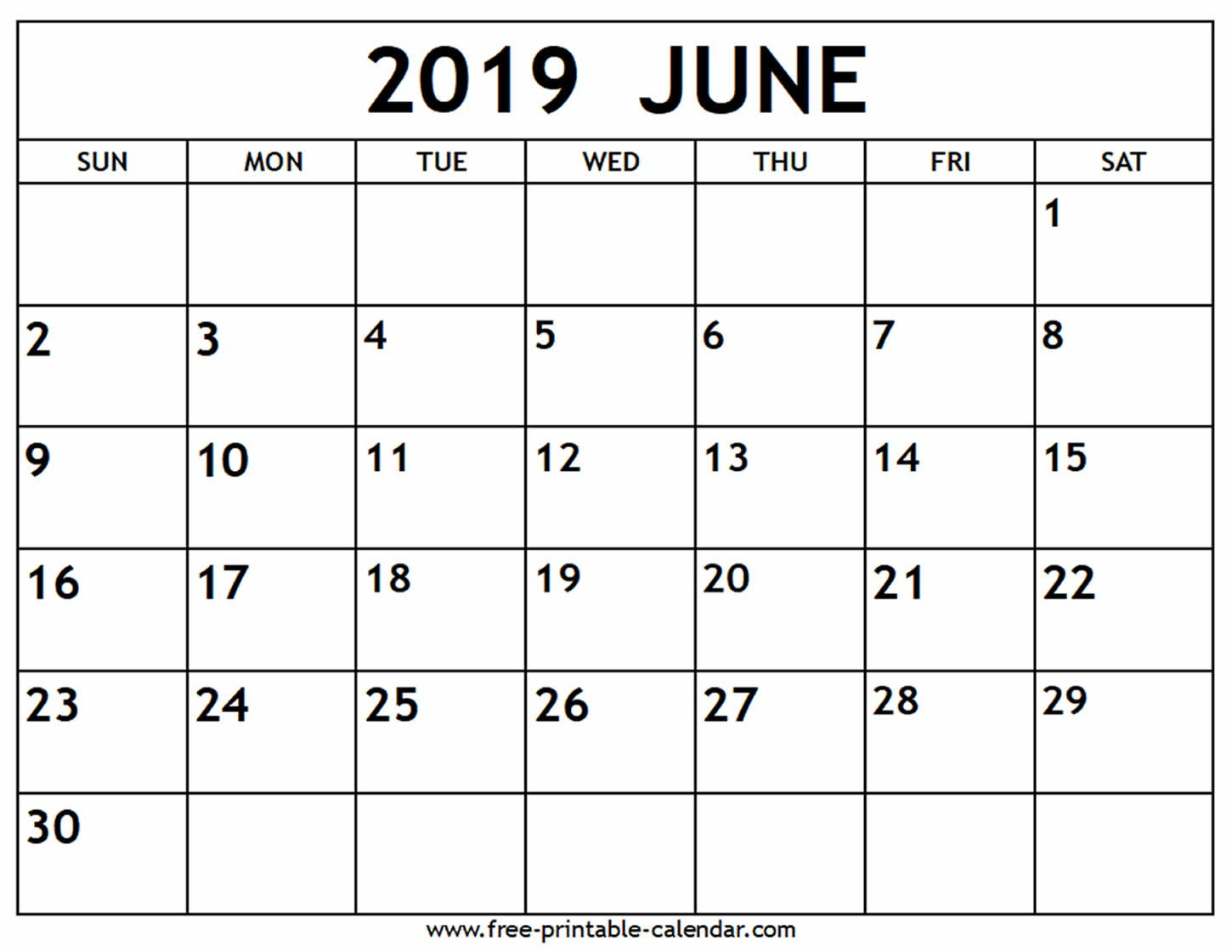 June 2019 Calendar - Free-Printable-Calendar Calendar Of 2019 June