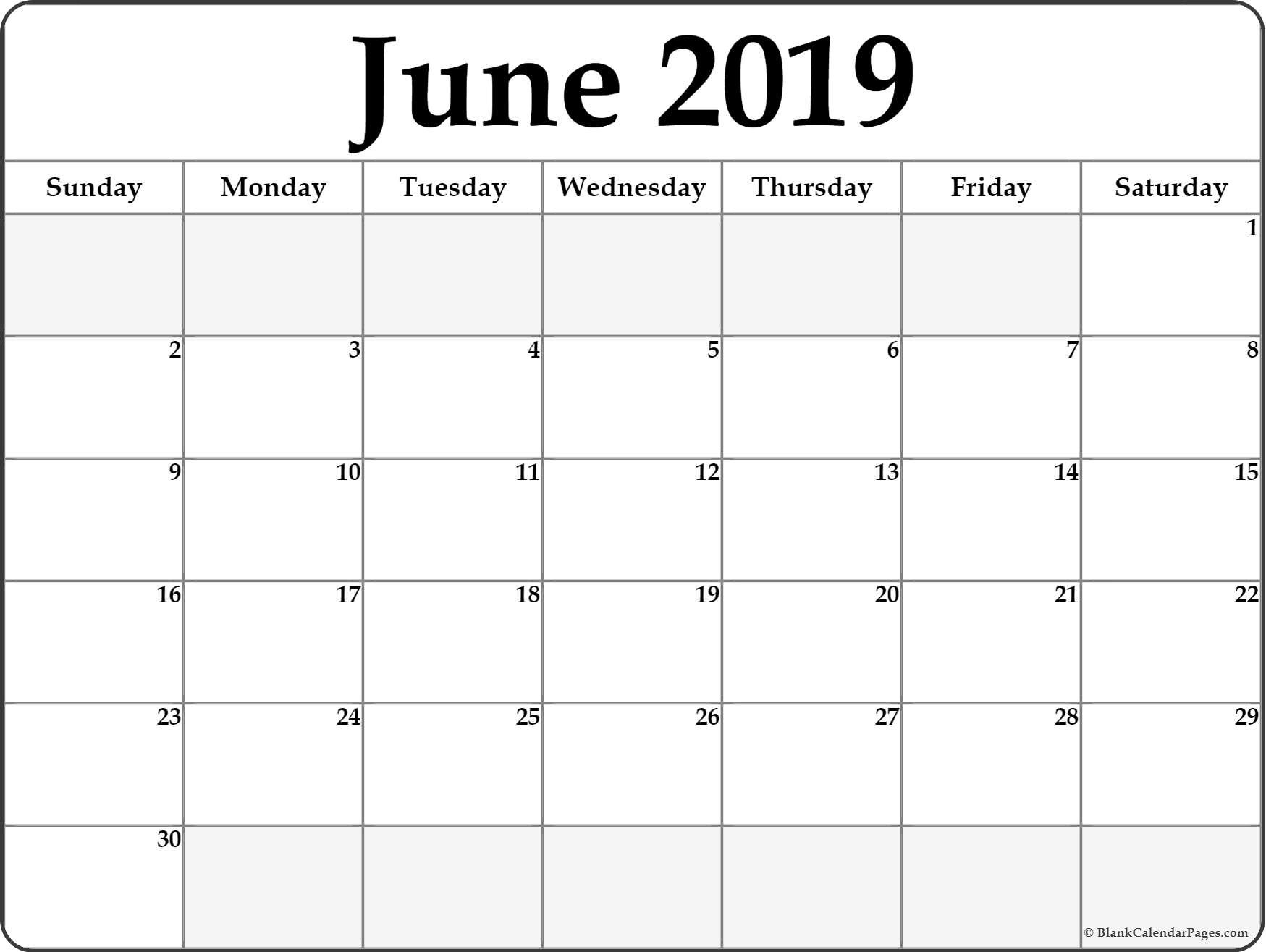 June 2019 Calendar | Free Printable Monthly Calendars June 2 2019 Calendar