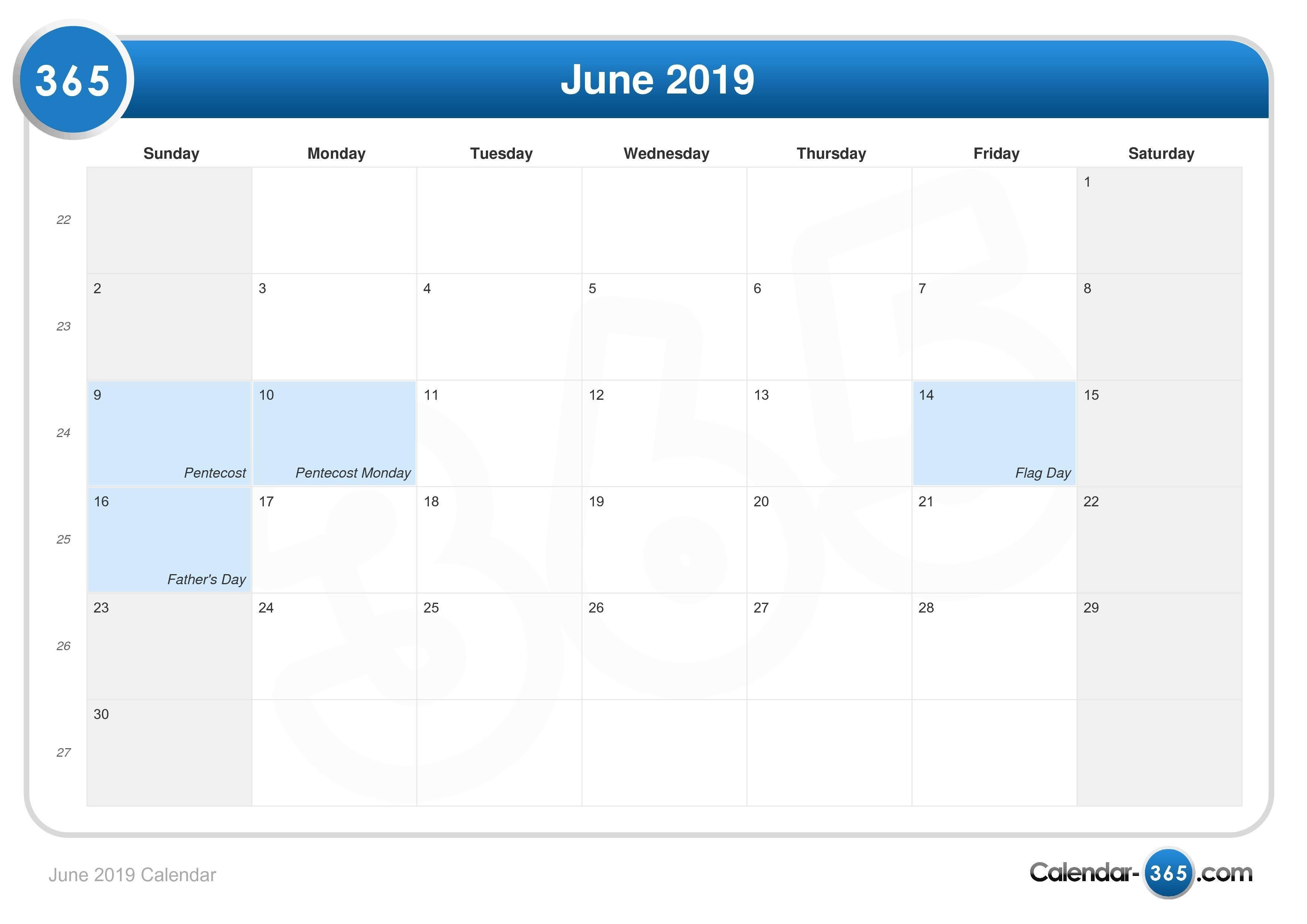 June 2019 Calendar June 2 2019 Calendar