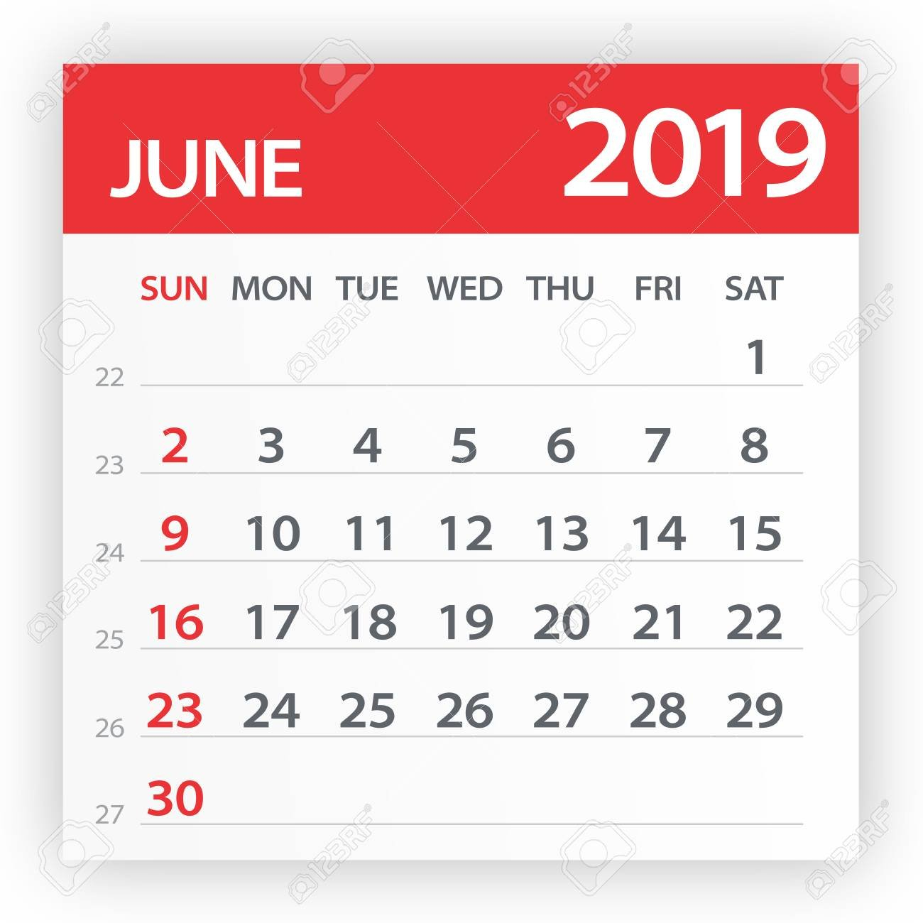 June 2019 Calendar Leaf - Illustration. Vector Graphic Page Royalty Calendar 2019 Clipart