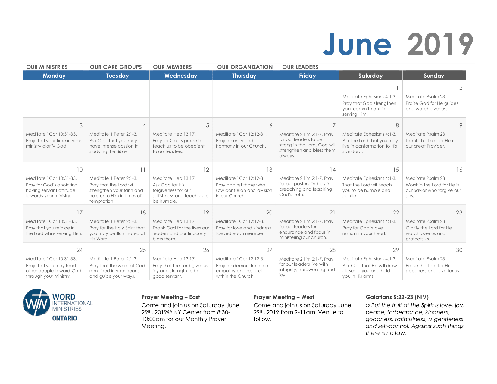 June 2019 Calendar Min - Word International Ministries Of Ontario Calendar 2019 Ontario