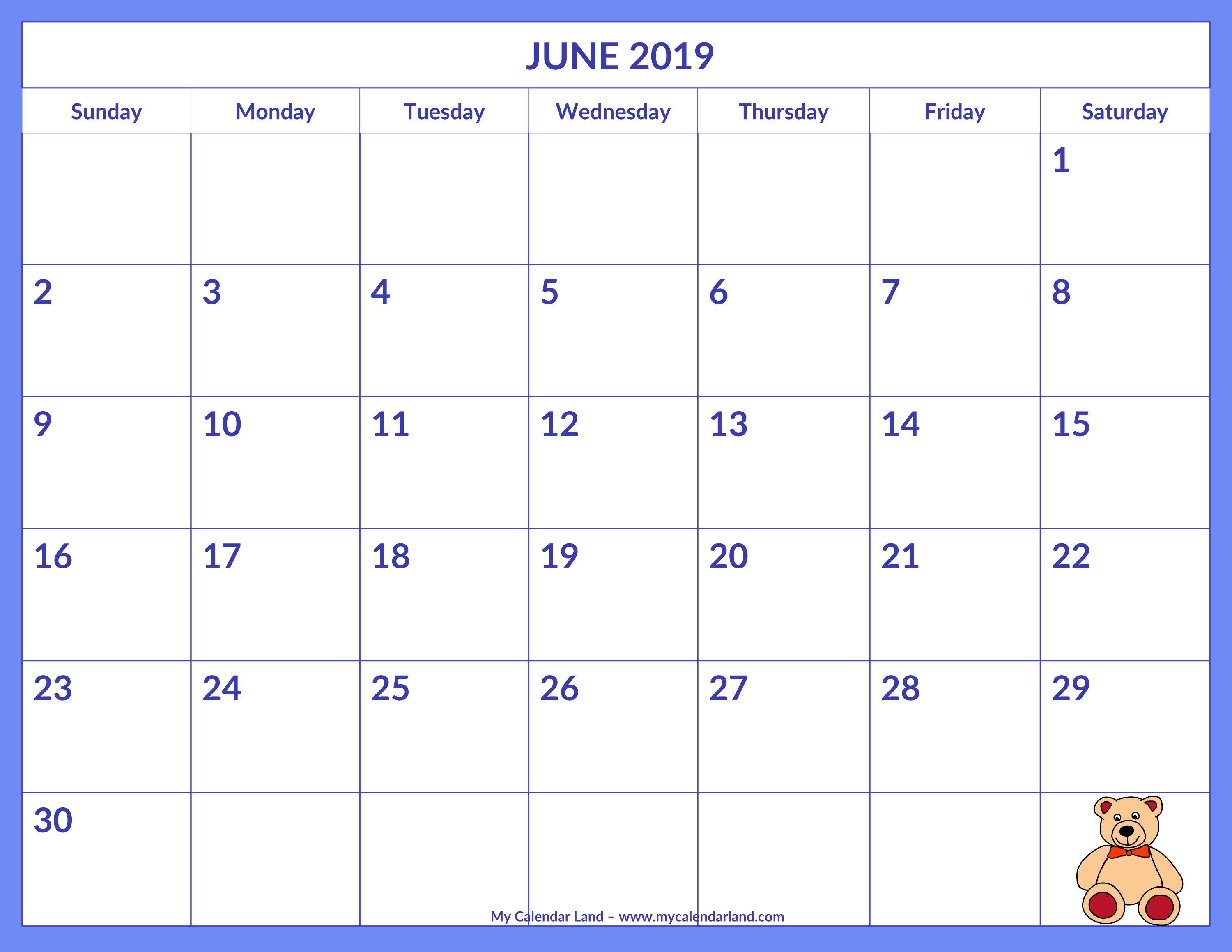 June 2019 Calendar - My Calendar Land Calendar 2019 Themes