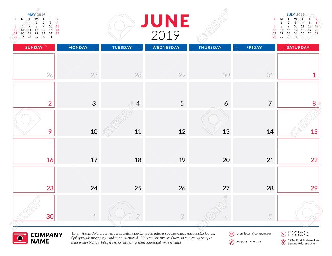 June 2019. Calendar Planner Stationery Design Template. Vector June 7 2019 Calendar