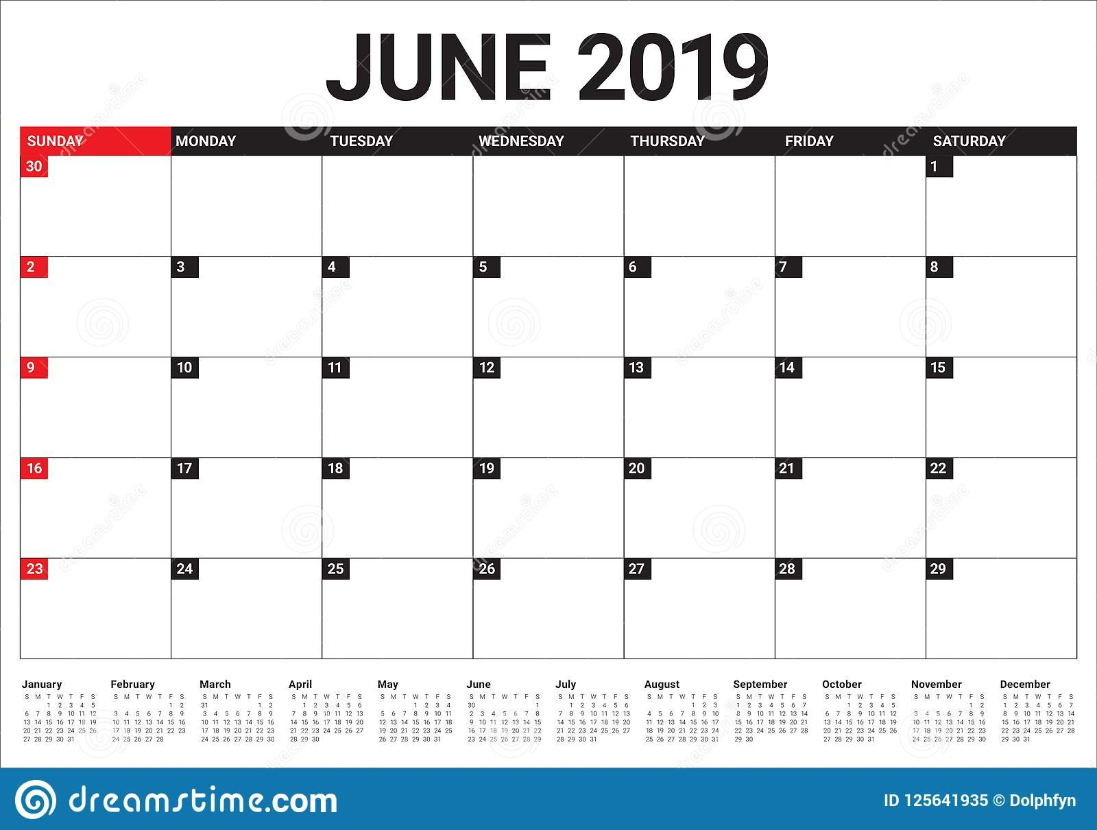 June 2019 Desk Calendar Vector Illustration Stock Vector Calendar 2019 Table
