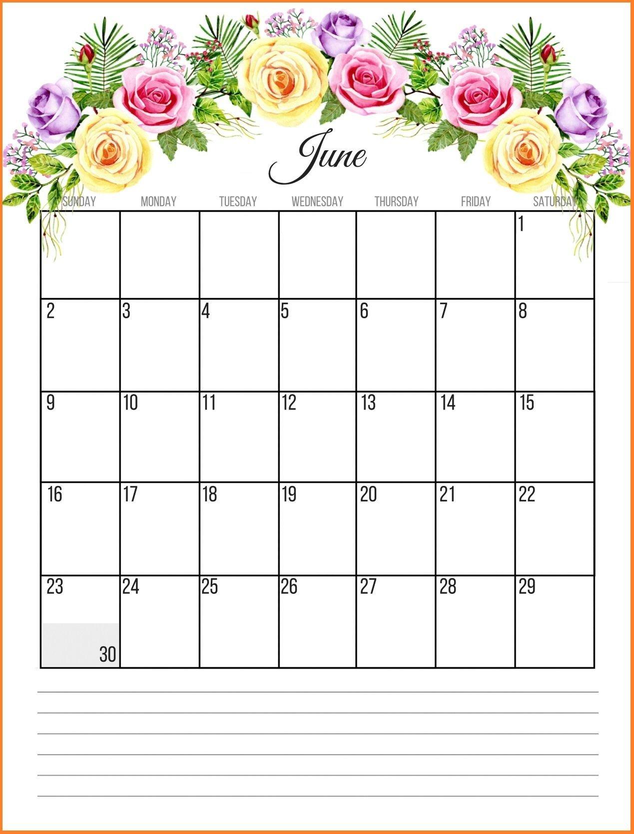 June 2019 Floral Calendar | Paper Crafts | Calendar June, June 2019 June 9 2019 Calendar
