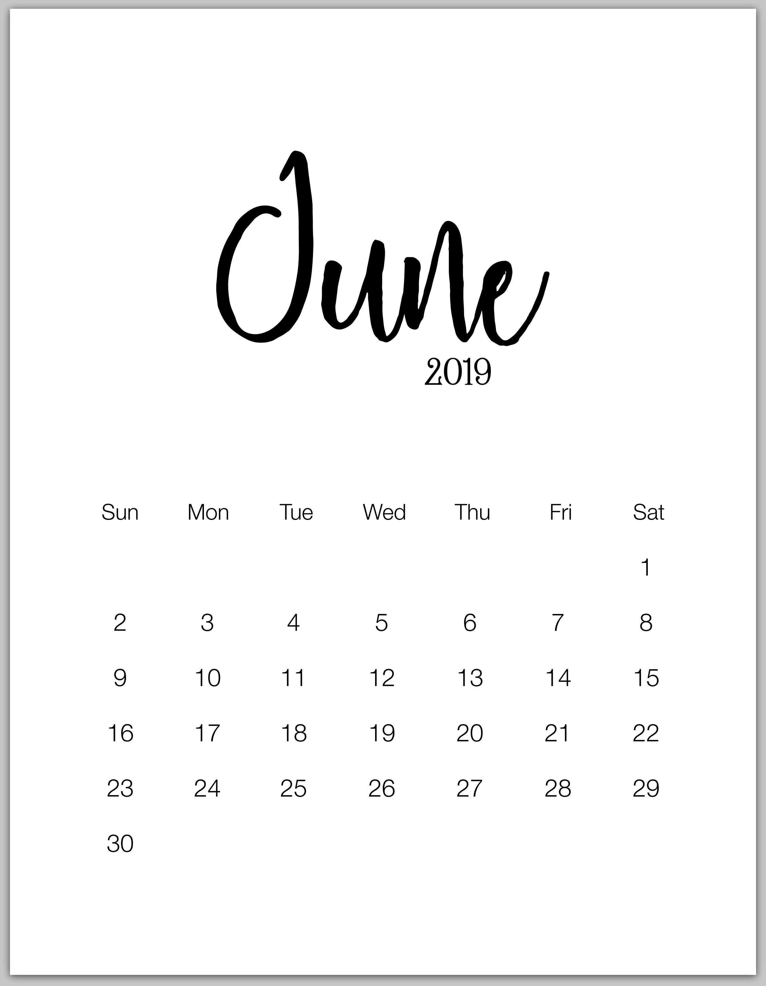 June 2019 Minimalist Calendar | ☆ Calendars ☆ | Calendar 2019 June 9 2019 Calendar