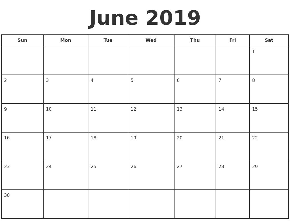 June 2019 Print A Calendar Print-A-Calendar 2019