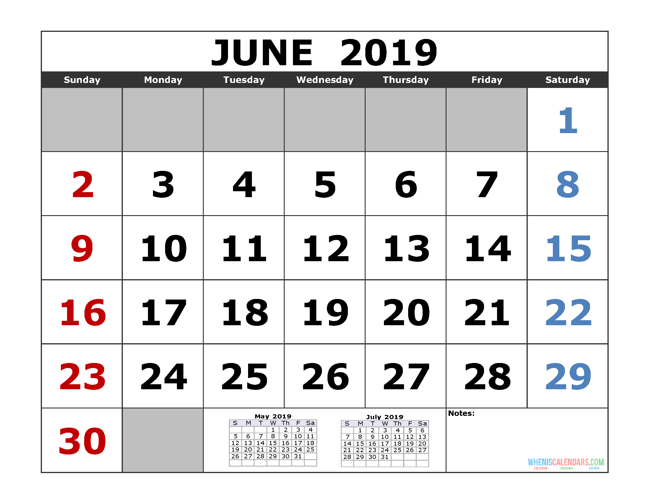 June 2019 Printable Calendar Template (3 Month Calendar) | Free June 7 2019 Calendar