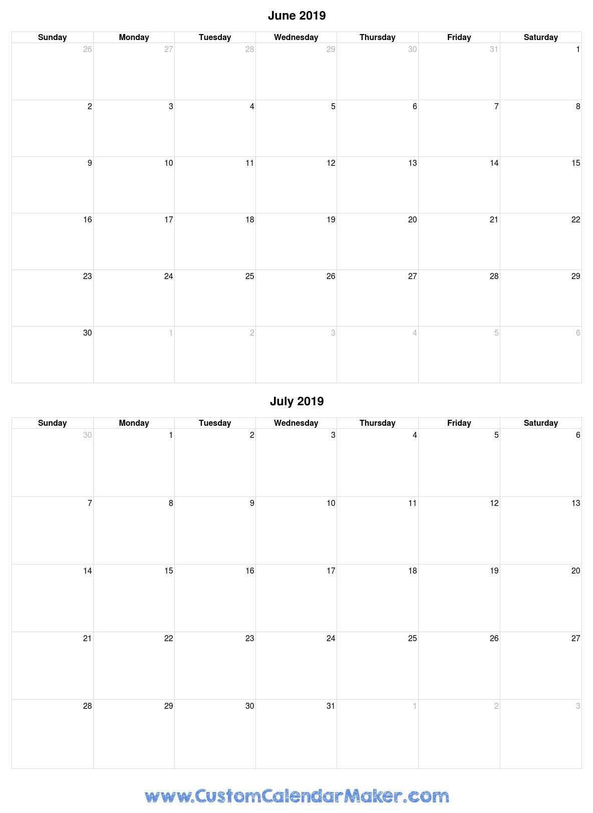 June And July 2019 Free Printable Calendar Template Calendar 2019 June July