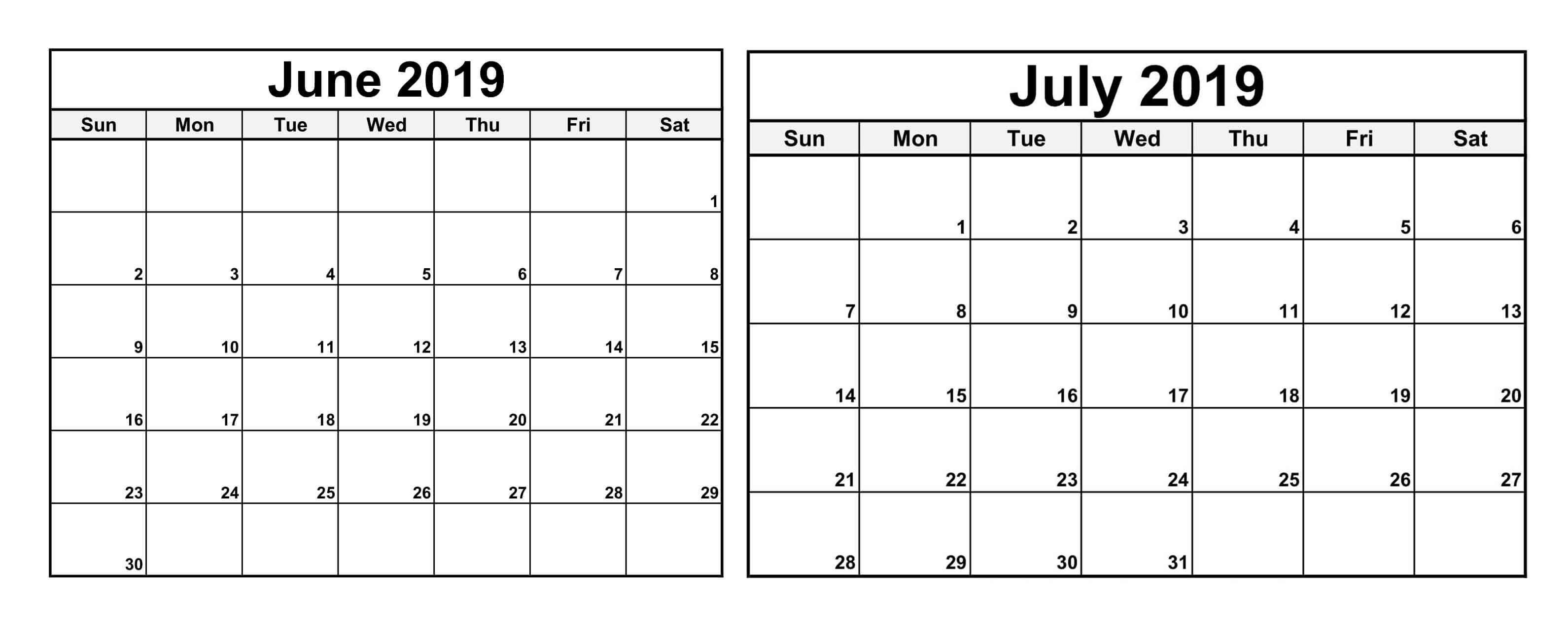 June July 2019 Calendar With Holiday – Magic Calendar 2019 Printable Calendar 2019 June July