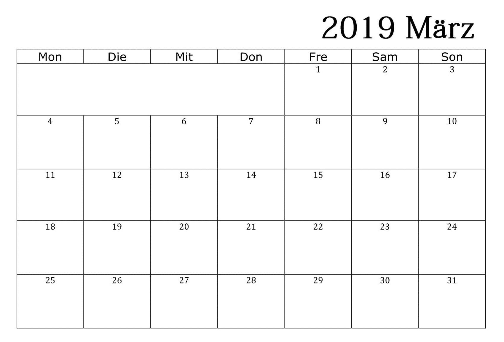 Kalender März 2019 Word - Free Printable Calendar, Templates And Calendar 2019 Word