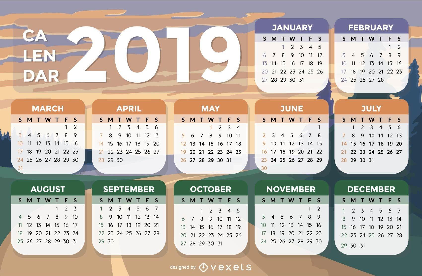 Landscape Background 2019 Calendar Design - Vector Download Calendar 2019 Landscape