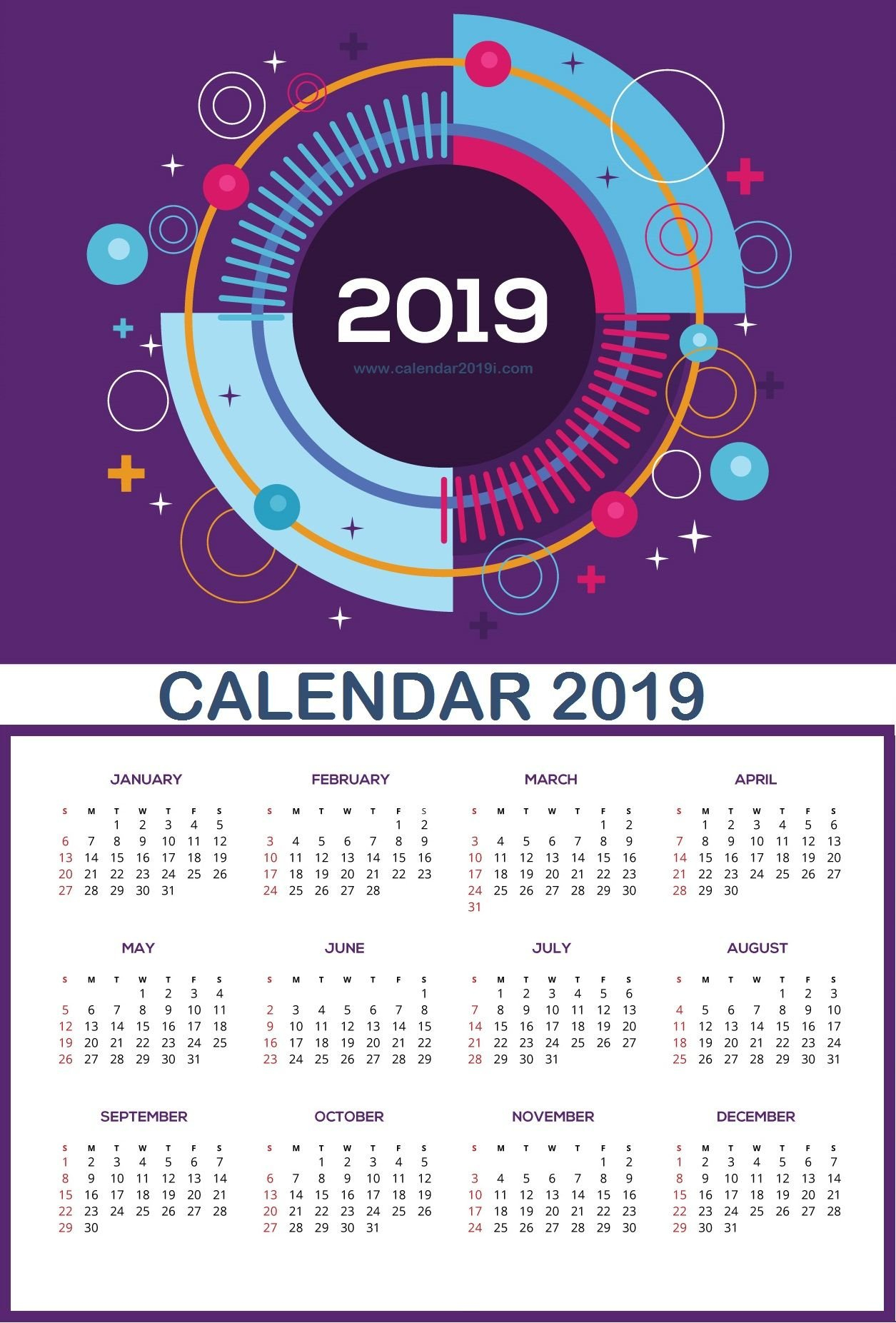 Large Wall Calendar 2019 | Planner | Wall Calendar Design, Monthly Calendar 2019 For Wall