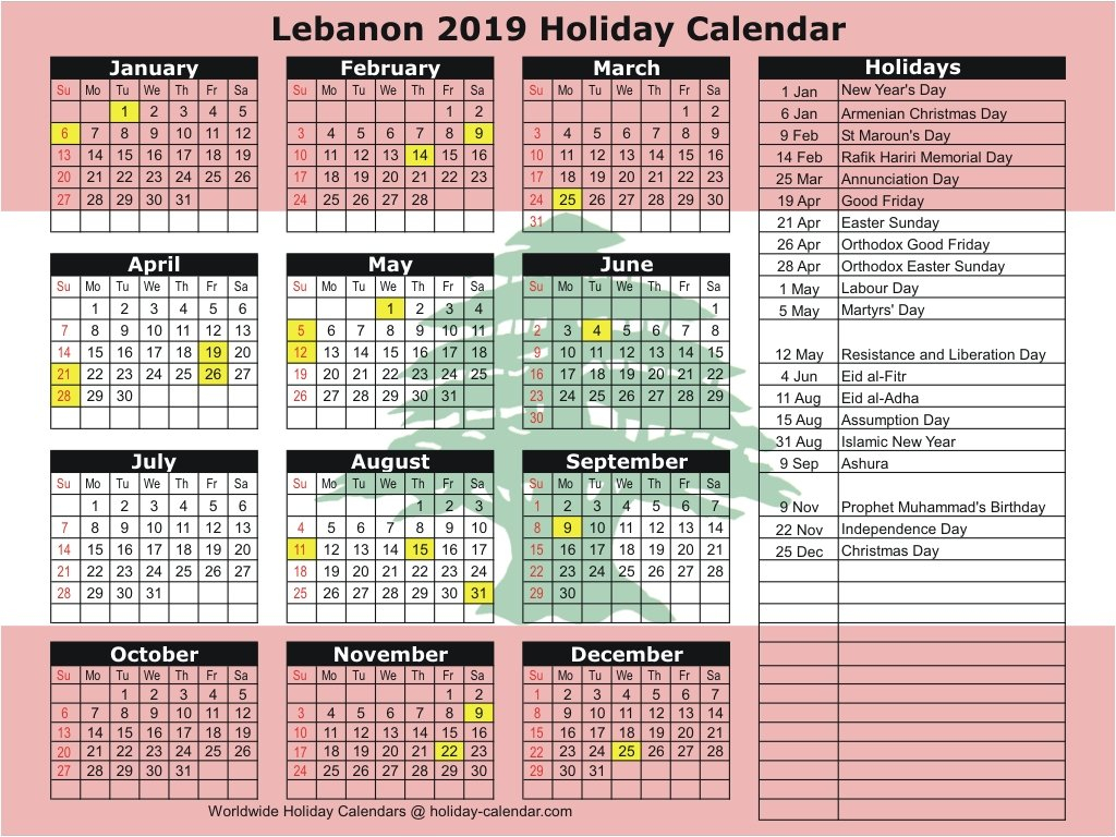 Lebanon 2019 / 2020 Holiday Calendar Calendar 2019 Lebanon