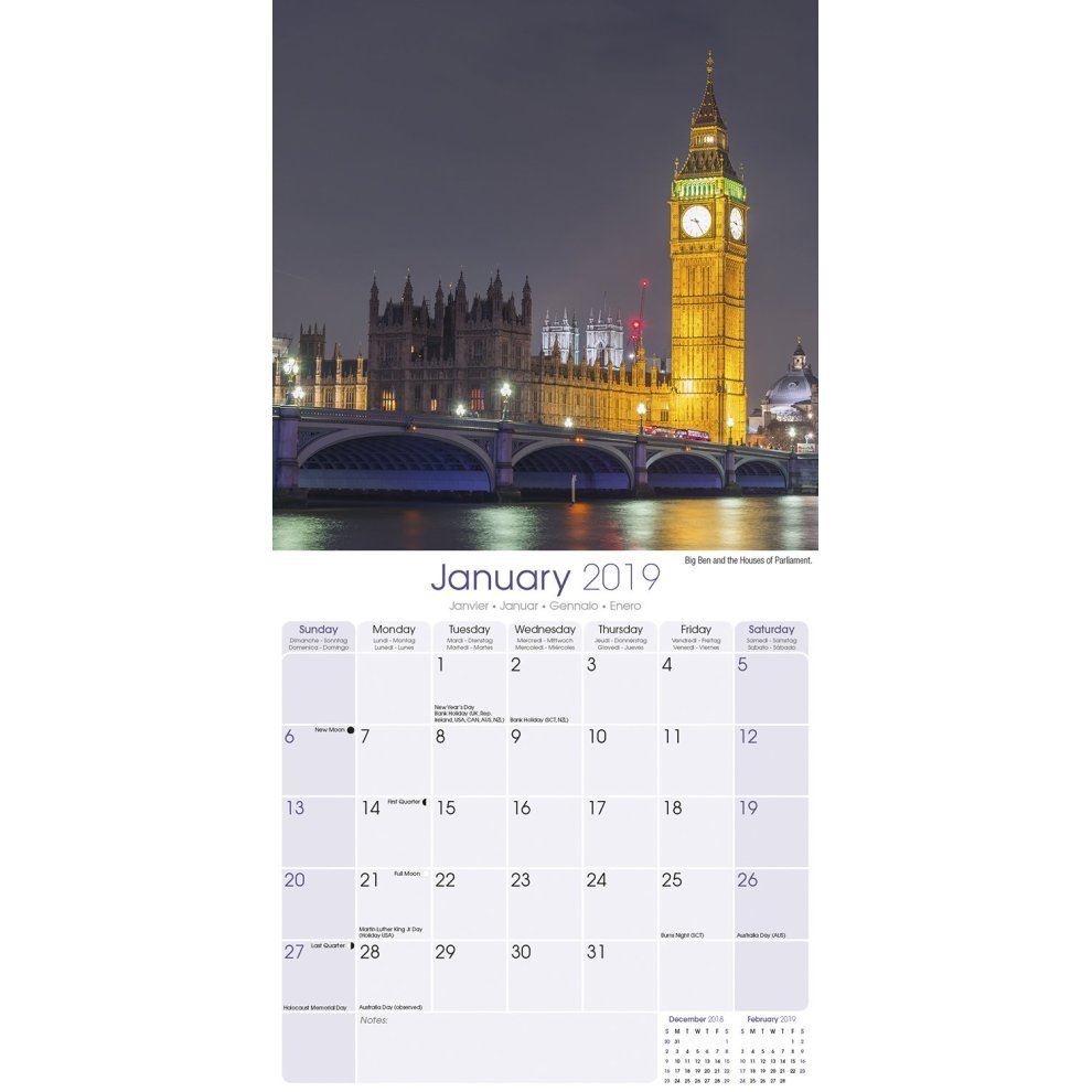 London Calendar 2019 On Onbuy Calendar 2019 London
