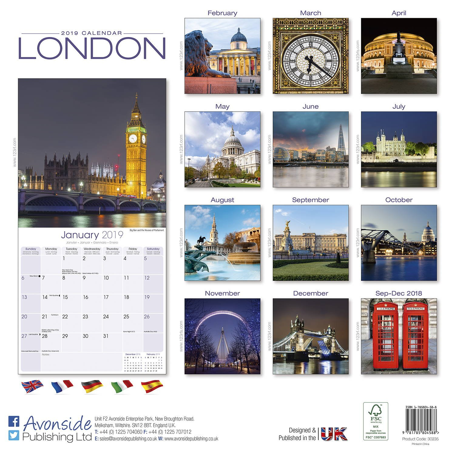 London Calendar 2019 | Pet Prints Inc. Calendar 2019 London
