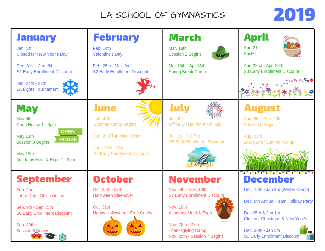Los Angeles School Of Gymnastics Event Calendar Calendar 2019 Of Events