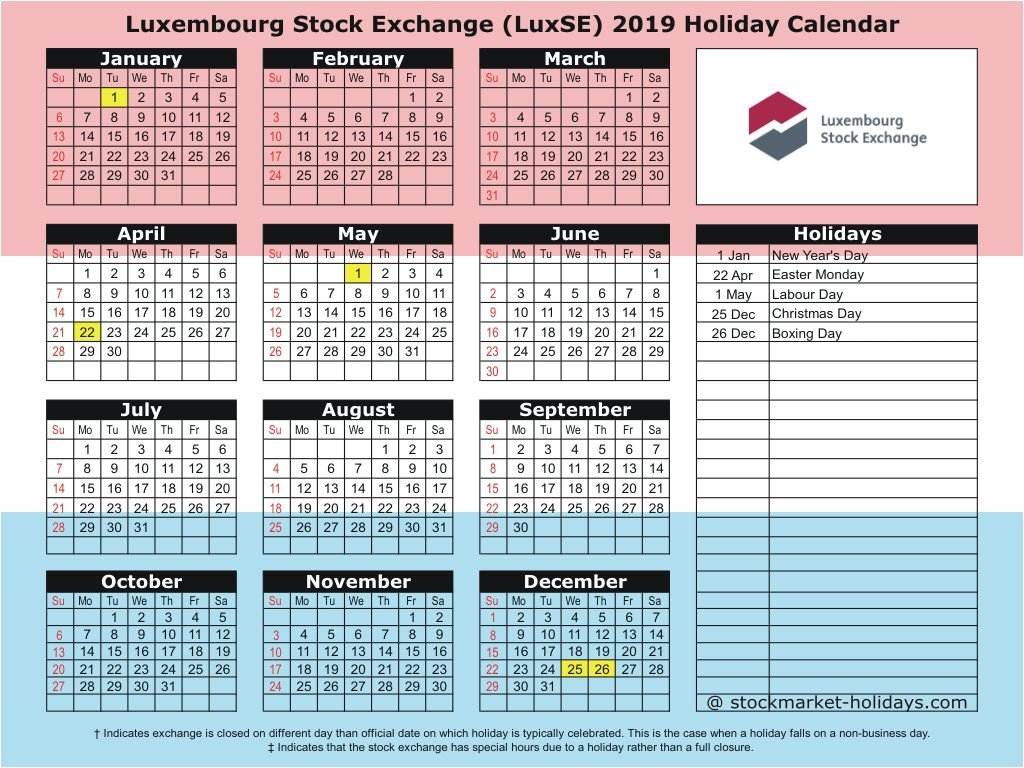 Luxembourg Stock Exchange 2019 / 2020 Holidays : Luxse Holidays 2019 Calendar 2019 Luxembourg
