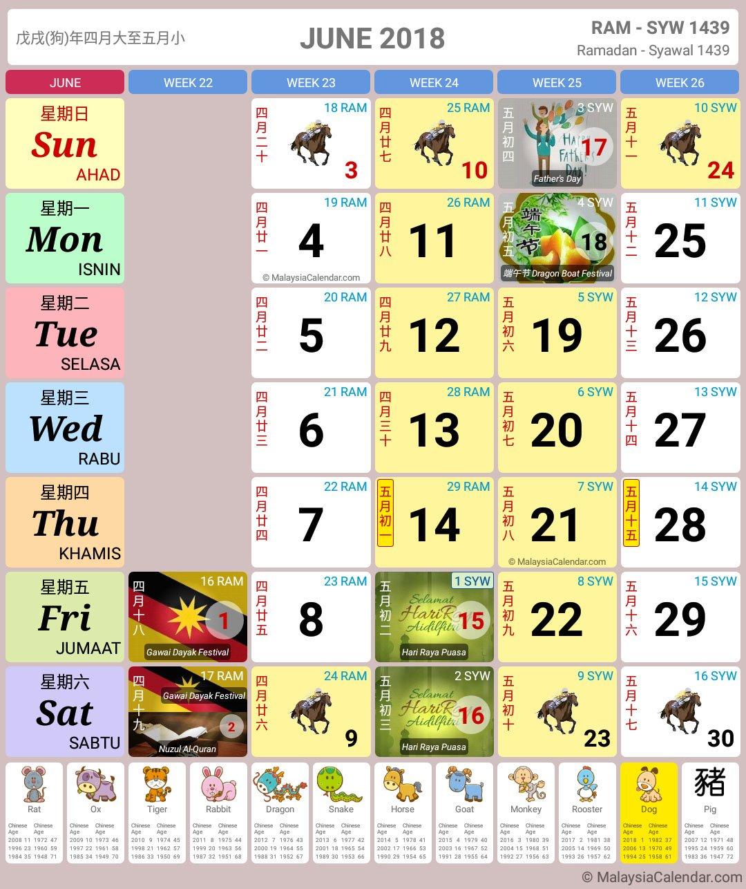 Malaysia Calendar Year 2018 (School Holiday) - Malaysia Calendar Calendar Bulan 6 2019