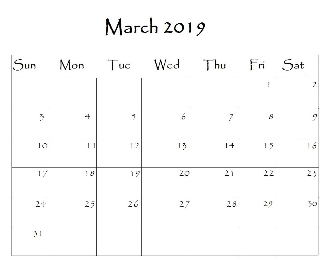 March 2019 Calendar Editable Blank Images Printable Free Download Calendar 2019 Editable
