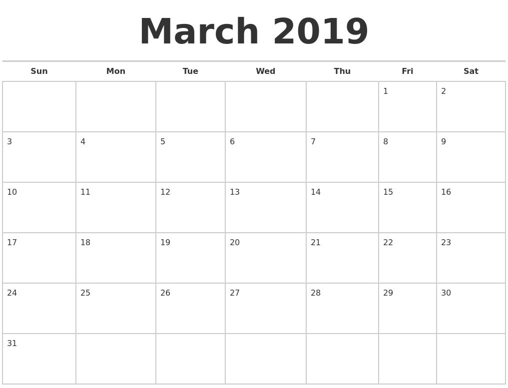 March 2019 Calendars Free March 8 2019 Calendar