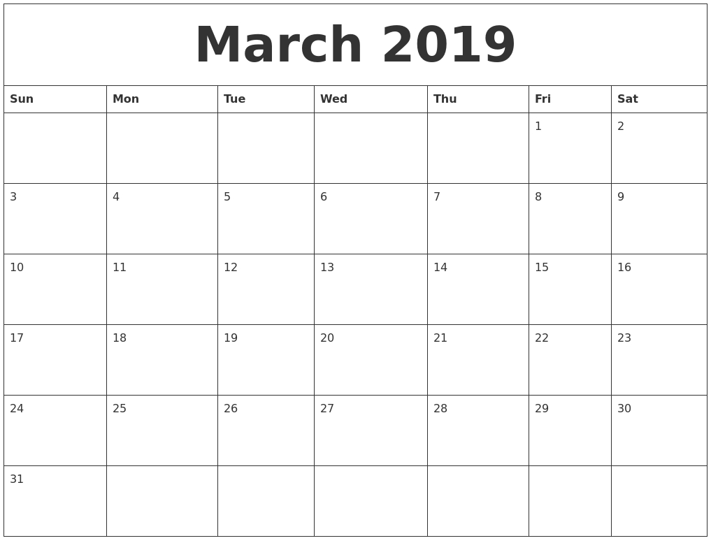 March 2019 Large Printable Calendar Calendar 2019 Large