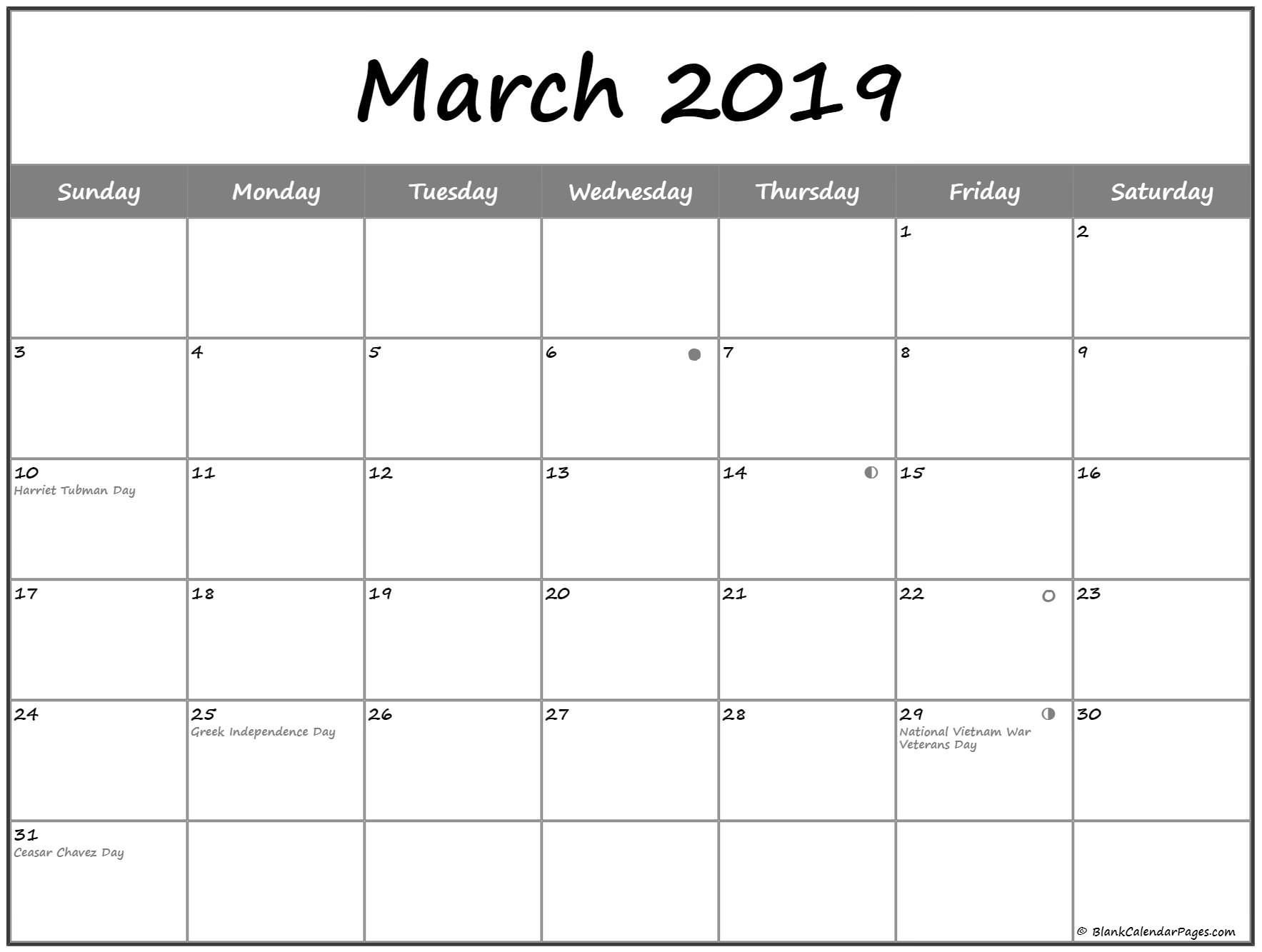 March 2019 Lunar Calendar Moon Phases | Free Monthly Calendar Calendar 2019 With Moon Phases