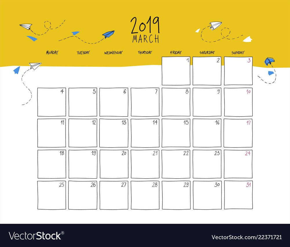 March 2019 Wall Calendar Doodle Style Royalty Free Vector Calendar 2019 Cool