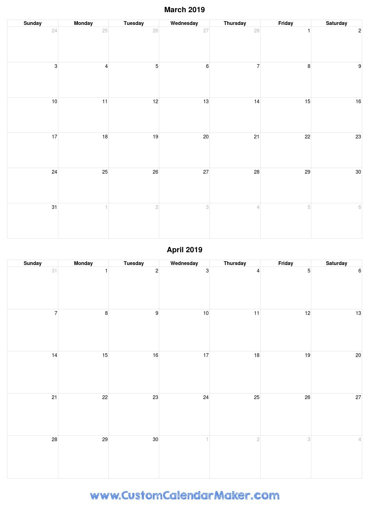 March And April 2019 Free Printable Calendar Template Calendar 2019 March April