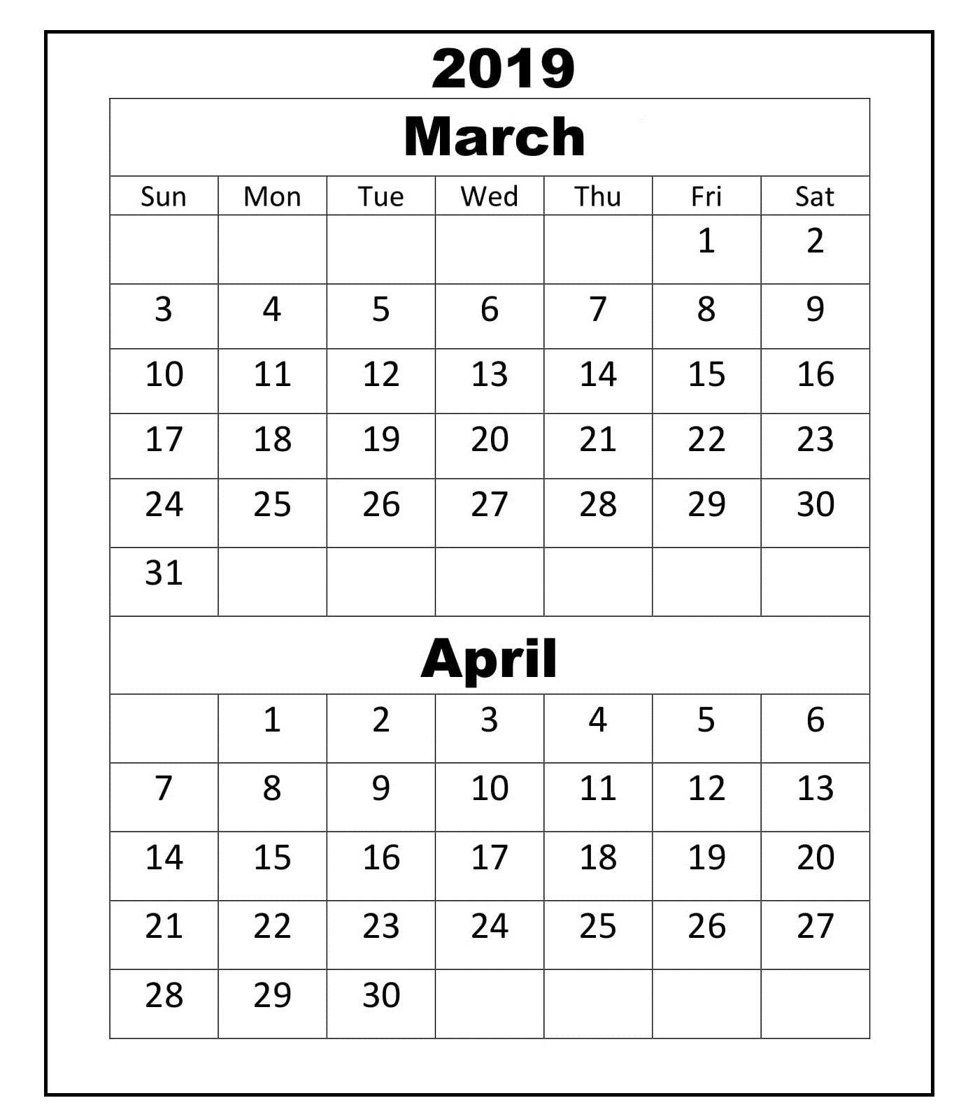 March April 2019 Calendar Academic | March April 2019 Calendar For Calendar 2019 March April