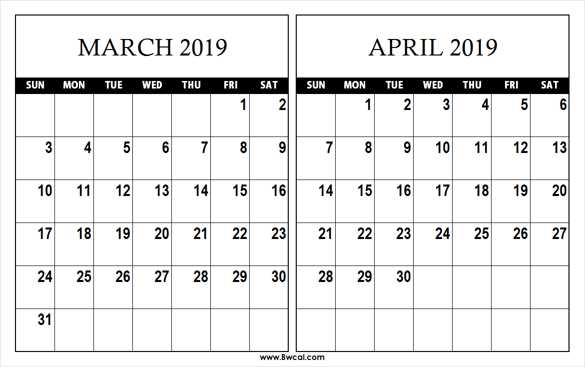 March April 2019 Calendar Template - Printable Calendar 2019| Blank Calendar 2019 March April