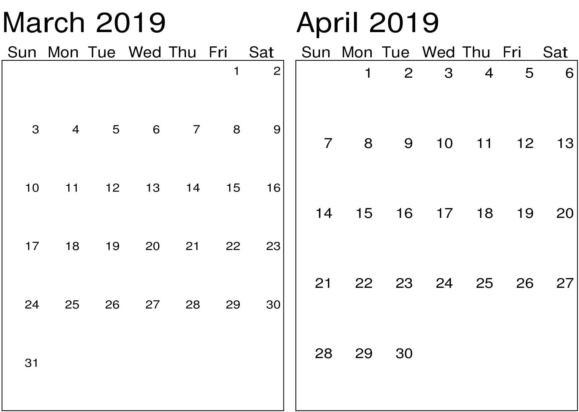 March April 2019 Printable Calendar - Printable Calendar Templates Calendar 2019 March April
