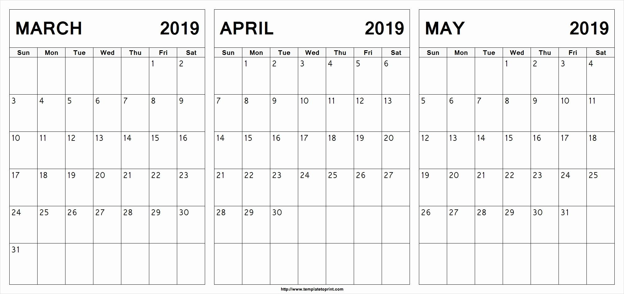 March April May 2019 Calendar Printable #march #april #may Calendar 2019 April May