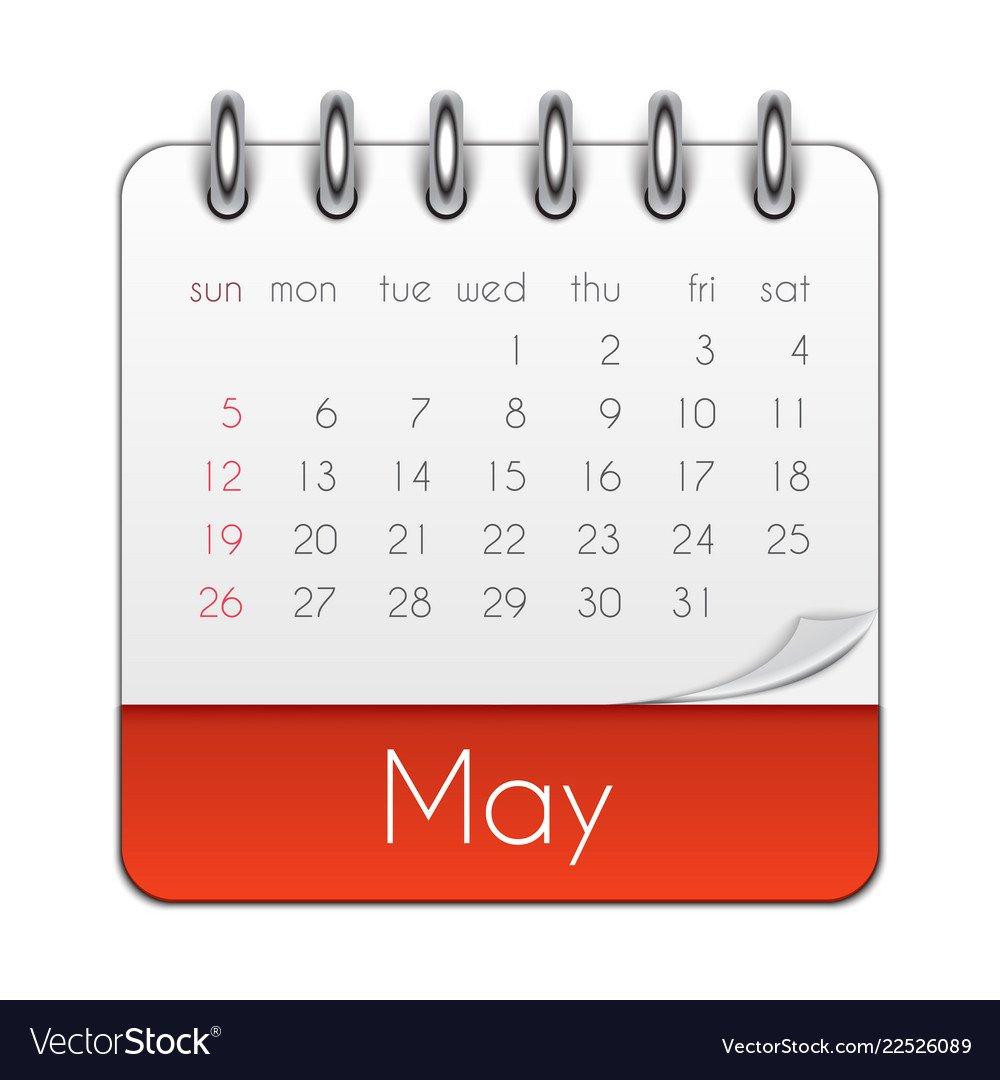 May 2019 Calendar Leaf Template Royalty Free Vector Image May 2 2019 Calendar