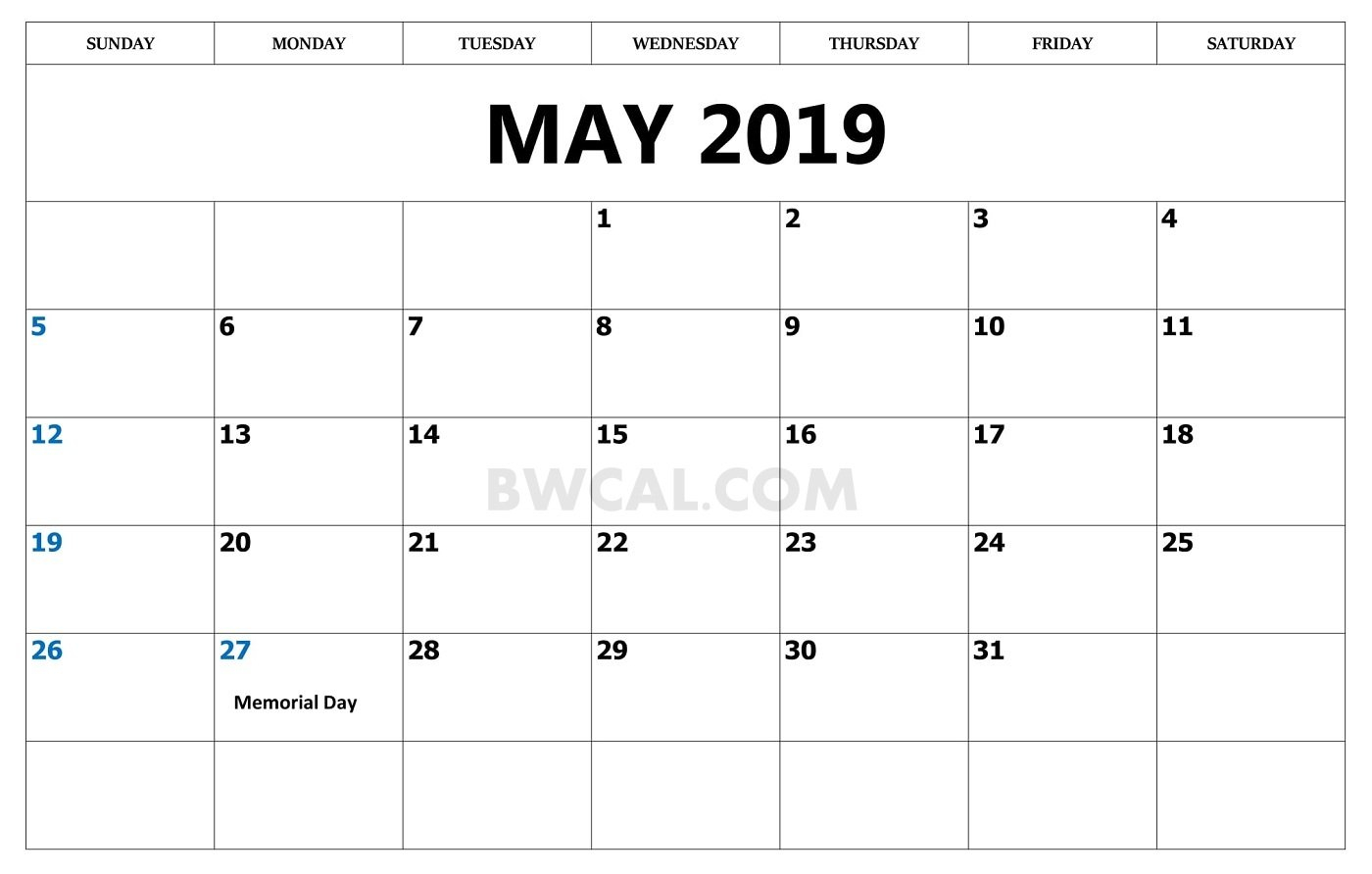 May 2019 Calendar Usa Archives - Blank And White Calendar Calendar 2019 Memorial Day